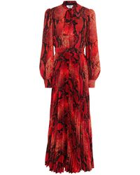 MSGM Pussy-bow Pleated Snake-print Crepe Maxi Dress - Red