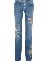 Attico | Ava Embellished Low-Rise Slim-leg Jeans | Lyst