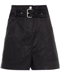3.1 Phillip Lim Belted Stretch-cotton Poplin Shorts - Black