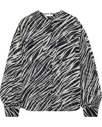 Anine Bing Arrow Zebra-print Silk-georgette Blouse - Black