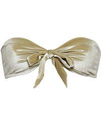 Love Stories Bow-detailed Chenille Bandeau Bikini Top Sage Green
