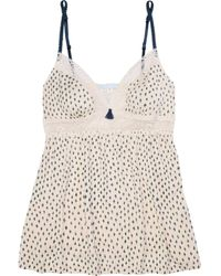 Eberjey Sketchy Spots Lace-trimmed Printed Stretch-modal Jersey Camisole - Multicolour