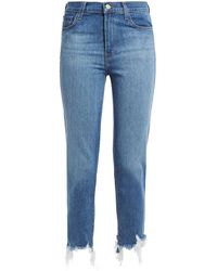 J Brand Ruby Cropped Distressed High-rise Slim-leg Jeans Mid Denim - Blue