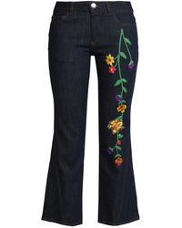 See By Chloé See By Chloé Embroidered Mid-rise Kick-flare Jeans Dark Denim - Blue