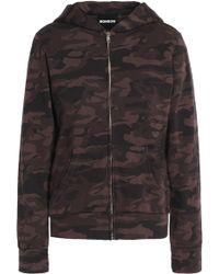 Monrow - Printed Cotton-terry Hooded Sweatshirt - Lyst