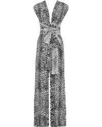 Amanda Wakeley Open-back Leopard-print Silk Jumpsuit Grey