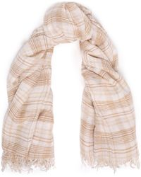 Chan Luu Frayed Checked Cashmere And Silk-blend Gauze Scarf Beige - Natural
