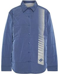 T By Alexander Wang Quilted Printed Washed-shell Jacket Slate Blue