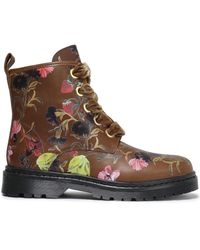 Mother Of Pearl Enzo Floral-print Leather Ankle Boots Brown