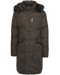 DKNY Faux Fur-trimmed Quilted Shell Hooded Coat Leaf Green