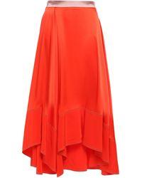 ROKSANDA Silk Crepe De Chine Midi Skirt Bright Orange
