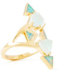 Noir Jewelry 14-karat Gold-plated Stone Ring Light Green