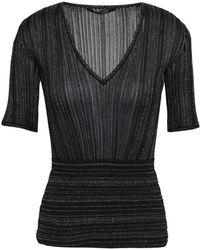 Roberto Cavalli - Woman Metallic Ribbed-knit Top Black - Lyst