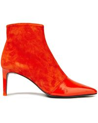 Rag & Bone - Paneled Patent-leather And Suede Ankle Boots Bright Orange - Lyst