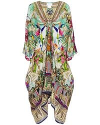 Camilla Gathered Embellished Printed Silk Crepe De Chine Coverup Bright Green