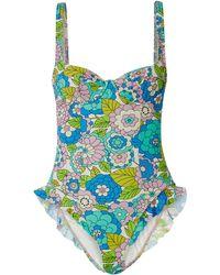 Dodo Bar Or + Annabel's Ruffled Floral-print Swimsuit - Blue