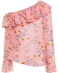 Rachel Zoe Off-the-shoulder Ruffled Floral-print Georgette Top - Pink