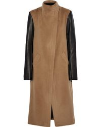 VEDA - Cadillac Leather-paneled Wool-blend Coat - Lyst