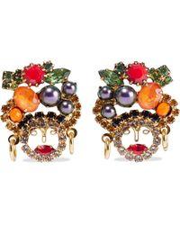 Elizabeth Cole Chiqui 24-karat Gold-plated, Swarovski Pearl And Crystal Earrings Multicolor - Metallic