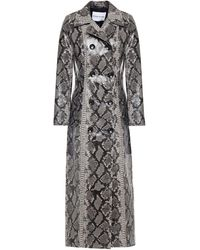 Stand Studio Sasha Snake-effect Faux Patent-leather Trench Coat Animal Print - Multicolour