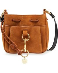 See By Chloé See By Chloé Tony Suede And Pebbled-leather Bucket Bag - Brown