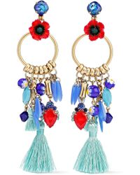 Elizabeth Cole - Woman Embellished Gold-tone, Stone And Crystal Earrings Multicolour - Lyst