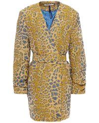 Gestuz Jackie Belted Leopard-jacquard Blazer Animal Print - Multicolour
