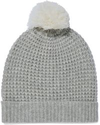1185e746 Chanel Gray Cashmere Cable Knit Pom Pom Beanie Hat in Gray - Lyst