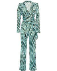 Diane von Furstenberg Wrap-effect Printed Silk-jersey Jumpsuit - Blue