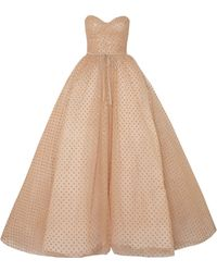 Monique Lhuillier - Strapless Glittered Polka-dot Tulle Gown Gold - Lyst