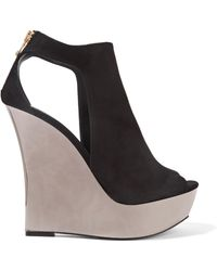 Balmain - Amaya Cutout Suede And Mirrored-leather Wedge Sandals - Lyst