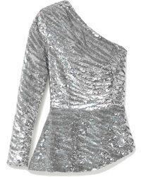 retroféte Retrofête Norma One-sleeve Sequined Satin Blouse - Metallic