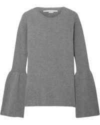 Stella McCartney Bell-sleeve Ribbed Wool Sweater - Gray