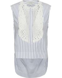Lover - Woman Guipure Lace-paneled Striped Cotton Top White - Lyst