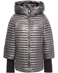 DKNY Metallic Quilted Shell Hooded Down Jacket - Multicolour