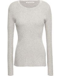 Live The Process Open-back Ribbed-knit Jumper Light Grey