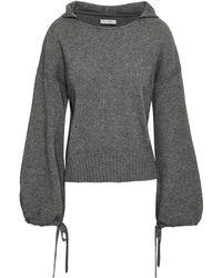 Vince Mélange Wool And Cashmere-blend Hooded Jumper Anthracite - Gray