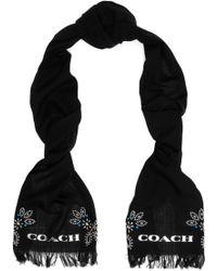 COACH - Embellished Wool Scarf - Lyst