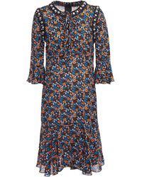 Anna Sui - Ruffled Embellished Floral-print Crepe De Chine Dress Black - Lyst