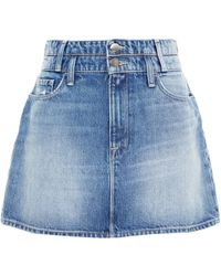 FRAME Faded Denim Mini Skirt Mid Denim - Blue