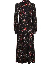 Goat Kayla Floral-print Stretch-crepe Midi Dress - Black