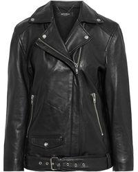 Muubaa Oversized Leather Biker Jacket - Black