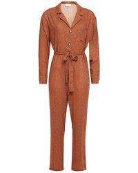 American Vintage Azulay Belted Printed Crepe Jumpsuit - Brown