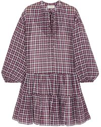 The Great The Timber Ruffled Checked Cotton Dress Navy - Blue