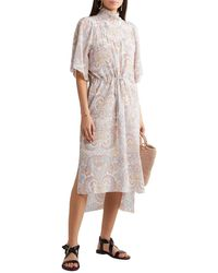 See By Chloé See By Chloé Gathered Printed Silk Crepe De Chine Midi Dress - Natural
