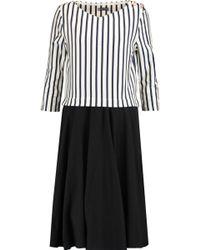 Petit Bateau Woman Layered Striped Cotton Dress Black