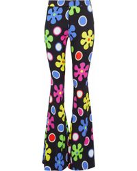 Moschino - Printed Crepe Flared Pants - Lyst