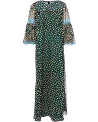 Anna Sui - Printed Chiffon-paneled Silk-georgette Maxi Dress Emerald - Lyst