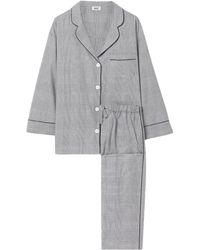 Sleepy Jones Marina Prince Of Wales Checked Cotton Pyjama Set Black