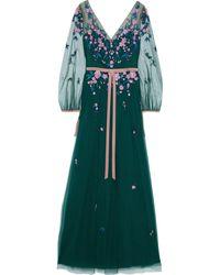 Marchesa notte Velvet-trimmed Embellished Tulle Gown Emerald - Green